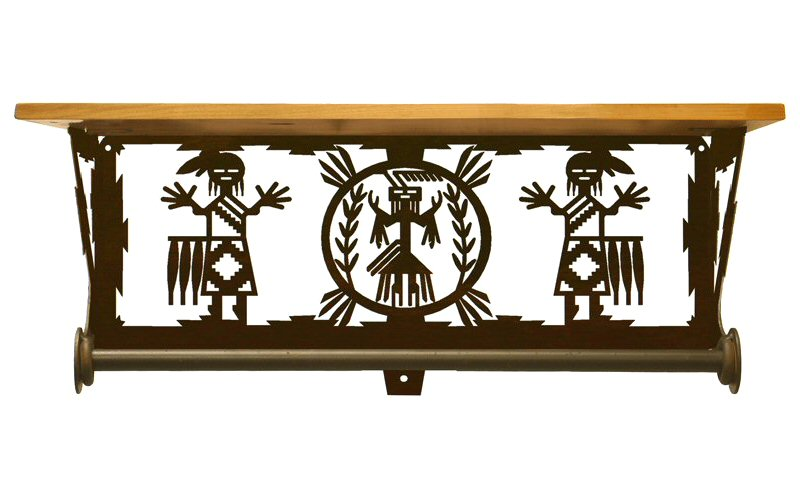 20 yei southwest scene metal towel bar with alder wood for Southwestern towel bars