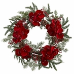 """22"""" Orchid, Berry and Pine Holiday Silk Wreath"""