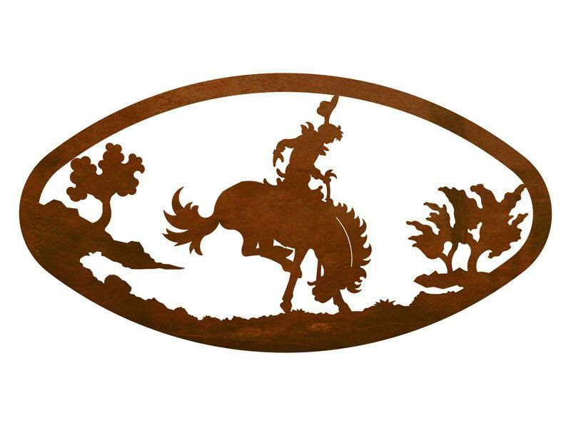 22 oval bucking bronco rider metal wall art western wall decor - Oval wall decor ...