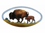 "22"" Oval Buffalo with Calf on the Range Hand Painted Metal Wall Art"