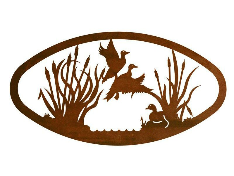 22 oval ducks in the marsh metal wall art birds wall decor - Oval wall decor ...