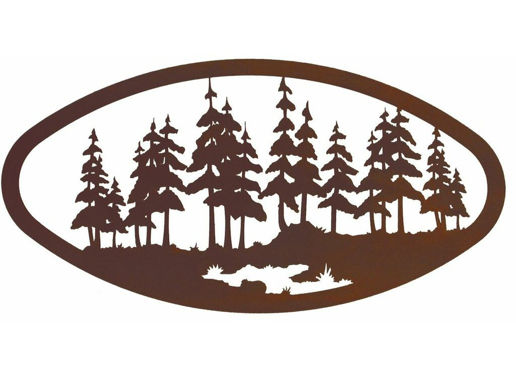 22 oval large pine forest metal wall art nature wall decor