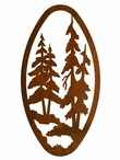 "22"" Oval Pine Forest Metal Wall Art"