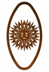 "22"" Oval Sand Painting Sun Metal Wall Art"