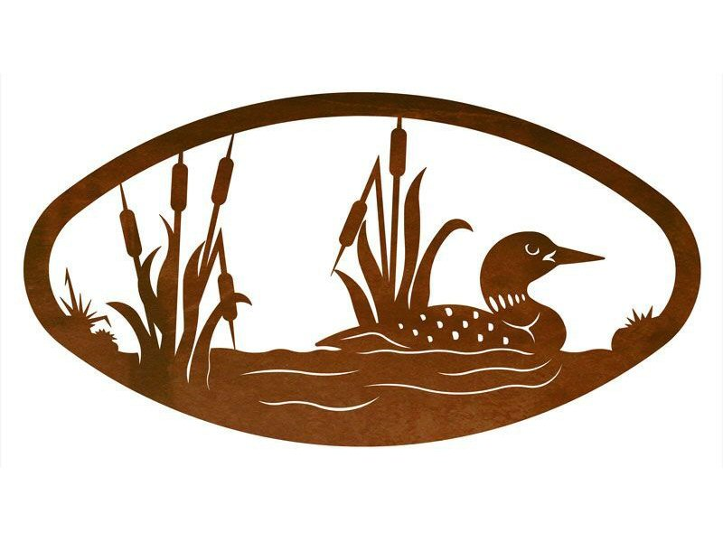 22 oval swimming loon metal wall art birds wall decor - Oval wall decor ...