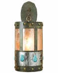 "22"" Turquoise Stone One Light Metal Wall Sconce"