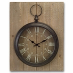 """23"""" Rustic Round Metal Wall Clock Mounted on Wood Back"""