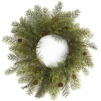 """24"""" Cypress and Pinecones Silk Wreaths, Set of 2"""