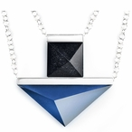 "24"" Dark Blue/Black Collier Crystal & Silver Necklace By Mats Jonasson"