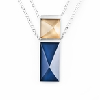 "24"" Dark Blue/Gold Collier Crystal & Silver Necklace By Mats Jonasson"