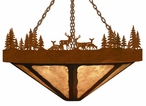 "24"" Deer Family in the Forest Round Metal Chandelier"