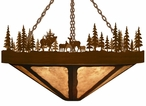 "24"" Elk Family in the Forest Round Metal Chandelier"