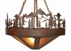 "24"" Midnight Moon with Pine Trees and Mountains Metal Chandelier"