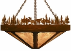 "24"" Moose Family in the Forest Round Metal Chandelier"