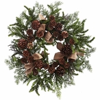 """24"""" Pine and Pine Cone Silk Wreath with Burlap Bows"""