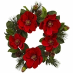 """24"""" Red Magnolia and Pine Silk Wreath"""