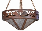 "24"" Texas Star and Longhorn Steer Metal Chandelier"