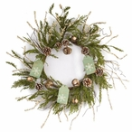 """25"""" Pine Cones and Name Tags Silk Wreath"""