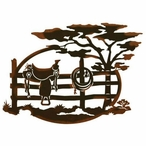 "26"" Saddle Sitting on a Fence Scenic Metal Wall Art"