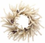 """26"""" Snowy Dried Pine and Pine Cones Silk Wreath"""