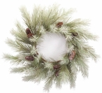 """26"""" Snowy Pine and Pine Cones Silk Wreath"""