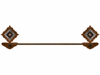 "27"" Burnished Diamond Copper Berry Concho Metal Towel Bar"