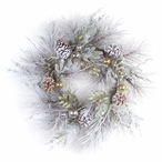 """27"""" Flocked Pine Silk Wreath with Ornaments"""
