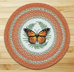 """27"""" Monarch Butterfly Braided Jute Round Rug by Harry W Smith"""