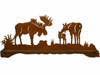"27"" Moose Family Scenic Metal Towel Bar"