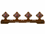 "27"" Red Jasper Stone Scenic Metal Towel Bar"