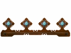 "27"" Turquoise Stone Scenic Metal Towel Bar"
