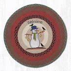"""27"""" Welcome Snowman Crows and Stars Braided Jute Round Rug"""