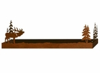 """28"""" Elk and Pine Trees Metal Wall Shelf with Ledge"""