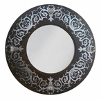 """28"""" Round Damask Metal Wall Mirror with Heart Conchos"""