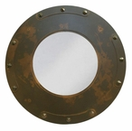 "28"" Round Forged Nail Metal Wall Mirror"