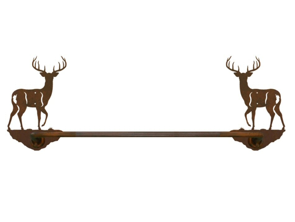 27 Whitetail Deer Metal Towel Bar Towel Holder