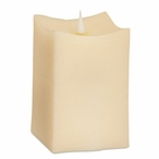 """3.5"""" x 5"""" Simplux LED Ivory Square Candles with Moving Flame, Set of 2"""