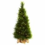 3' Artificial Christmas Tree with Burlap Bag & Clear Lights
