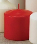 "3"" Red Unscented Pillar Candles, Set of 12"