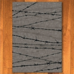 3' x 4' Barbed Wire Natural Western Rectangle Scatter Rug