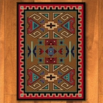 3' x 4' Four Rams Bright Southwest Rectangle Scatter Rug