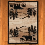 3' x 4' Mountain Shadow Bear Natural Wildlife Rectangle Scatter Rug