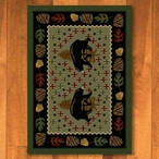 3' x 4' Patchwork Bear & Pinecones Green Rectangle Scatter Rug