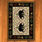 3' x 4' Patchwork Bear and Pinecones Wildlife Rectangle Scatter Rug