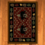3' x 4' Patchwork Bear & Pinecones Red Wildlife Rectangle Scatter Rug
