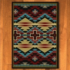 3' x 4' Rustic Cross Blue Southwest Rectangle Scatter Rug
