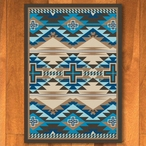3' x 4' Rustic Cross Indigo Turquoise Southwest Rectangle Scatter Rug