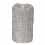 """3"""" x 5"""" Simplux LED Silver Glitter Candles with Moving Flame, Set of 2"""