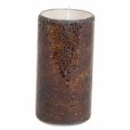 """3"""" x 6"""" Simplux LED Brown Mosaic Candles with Moving Flame, Set of 2"""