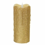 """3"""" x 7"""" Simplux LED Gold Glitter Candles with Moving Flame, Set of 2"""